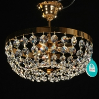 Plafonnier corbeille 3 feux en cristal Spectra Swarovski® Ø30 cm Mongolfo