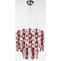 Lustre Murano moderne transparent et rouge Ø50 cm Roccella
