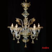 Lustre en verre de Murano style vénitien 5 feux Pereto