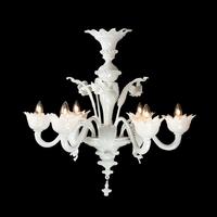 Lustre baroque en verre de Murano blanc 5 ou 6 feux Villalago