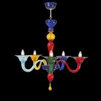 Lustre en verre de Murano 5 feux Carpineto