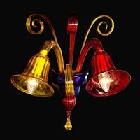 Applique en verre de Murano 2 feux Fossa