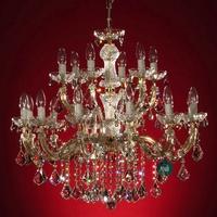 Lustre en cristal Spectra® Swarovski® 18 feux plein or Traviata