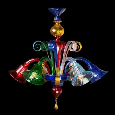 Lustre en verre de Murano style vénitien 5 feux Fossa
