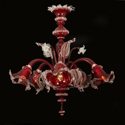 Lustre Murano en verre rouge style vénitien 5 feux Aterno