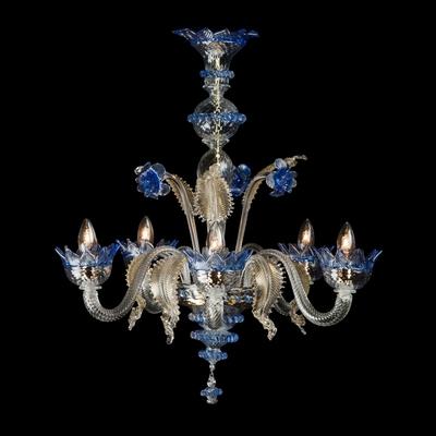 Lustre en verre de Murano bleu 5 feux Marsi