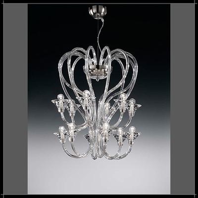 Lustre design moderne en cristal au plomb 24% 12 feux Voltolina Babylon