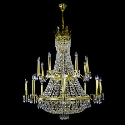 Lustre montgolfière WRANOVSKY AUSTRIA 24 feux en cristal de Bohême au plomb 30 % ø110cm H131cm
