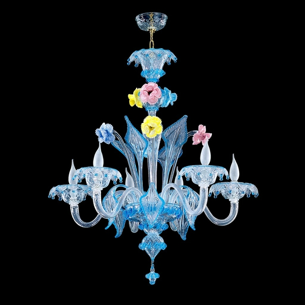 Lustre en verre de murano bleu fleurs caldora luminaires murano - Lustre cristal occasion belgique ...
