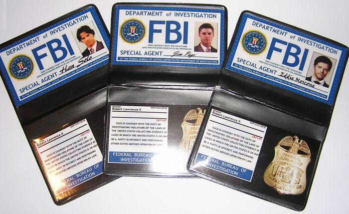 Supernatural Lot Badges FBI Dean Sam et Castiel