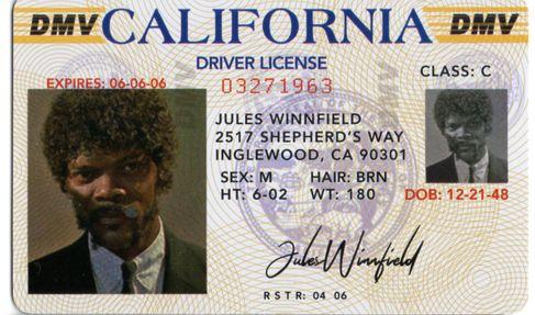 Pulp Fiction réplique permis de conduire Jules Winnfield