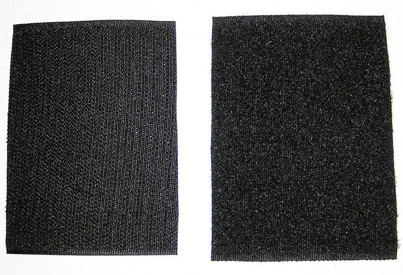 Velcros noirs male et femelle pour ecusson rectangle