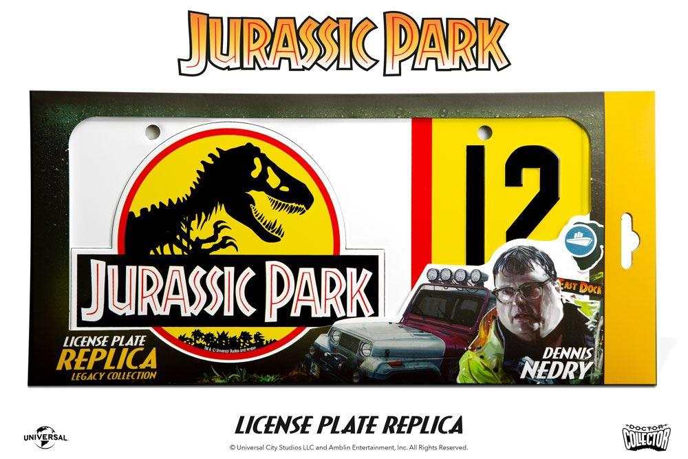 Réplique plaque minéralogique Jurassic park