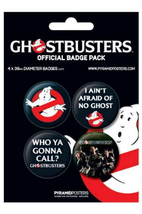 Blister officiel de 4 badges Ghostbusters