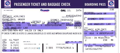 Lost billet d\'avion Oceanic vol 815 à votre nom