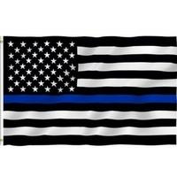 Drapeau des Etats Unis noir et blanc hommage aux forces de police Thin blue Line