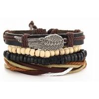 Bracelet cuir et perles avec aile offert pour tout achat dans notre boutique de Noel !