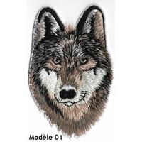 Ecusson brodé loup avec ou sans velcro