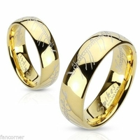 Bague Seigneur des anneaux en acier inoxydable plaqué or
