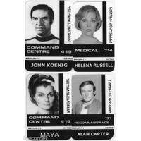 Lot de 4 cartes d'identification comme vu dans la serie Cosmos 1999