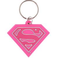 Porte cles officiel logo Supergirl rose en pvc