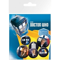 Blister 6 badges officiels Doctor Who