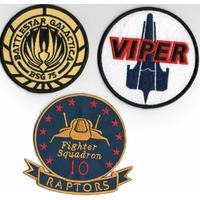 Lot de 3 ecussons des pilotes de Viper serie Battlestar Galactica