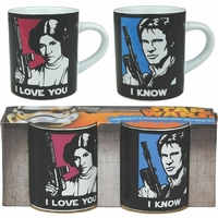 Lot 2 tasses Star Wars Han Solo et Leia