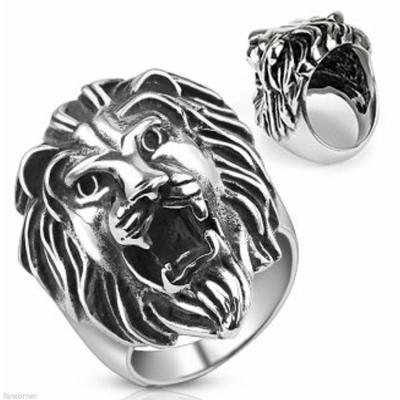 bague-lion-rugissant-acier-inoxydable