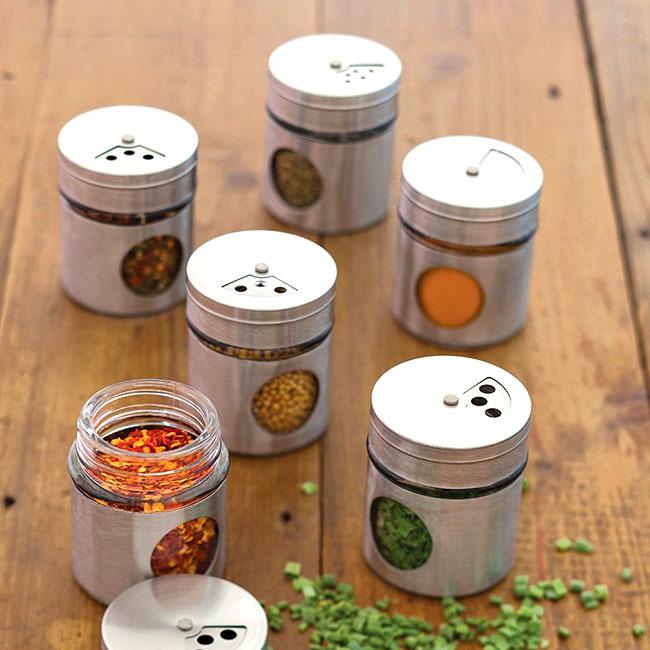 lot de 6 pots pices en inox les accessoires pour pices pots et rangement mes. Black Bedroom Furniture Sets. Home Design Ideas