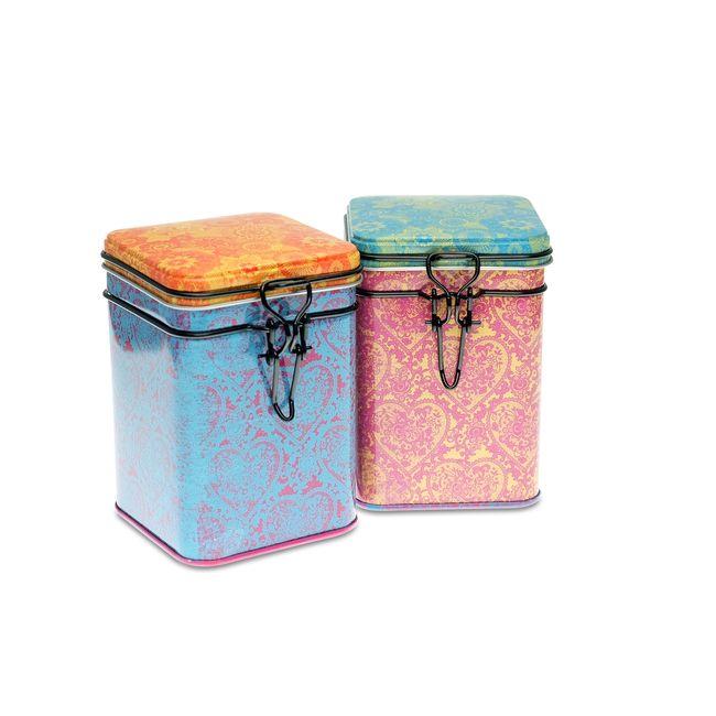 Lot de 2 boites à thé Indra - Format carré - 150g