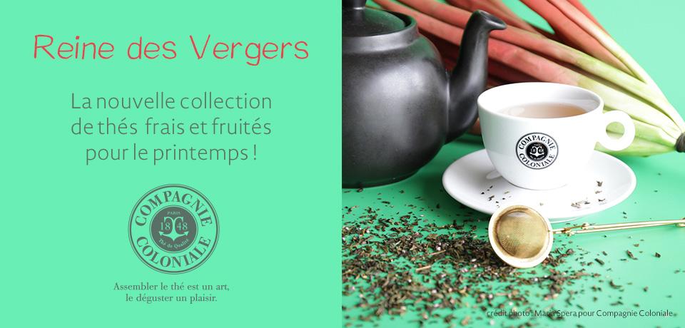 Thé vert Reine des Vergers : la délicatesse du parfum sucré et frais de la pêche de vigne sur un thé vert Sencha.
