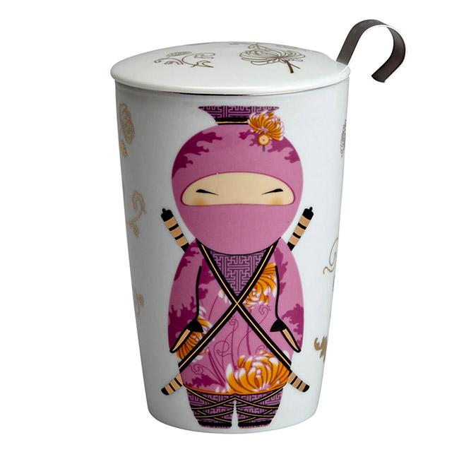Tisanière Little Ninja Rose double paroi avec filtre - 35cl