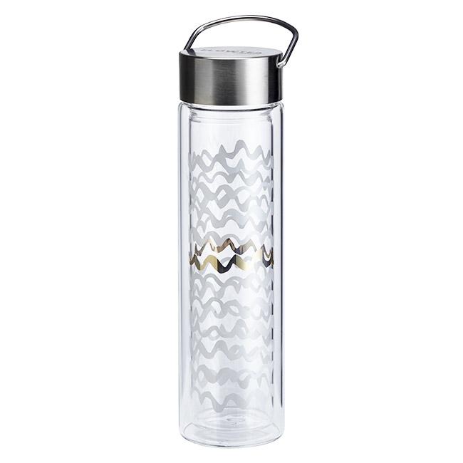 Thermos en verre double paroi avec infuseur Flowtea Black & White - 40cl