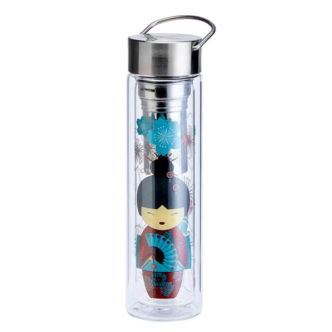 Thermos en verre double paroi avec infuseur Flowtea Little Geisha - 40cl