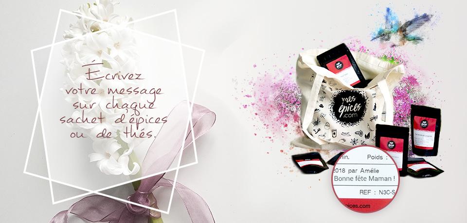 Personnalisez les sachets d'épices et de thés avec le message de votre choix pour offrir un cadeau unique à votre maman.