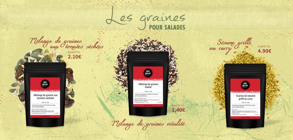 La saison des salades vient de rouvrir ses portes et pour varier les goûts et les textures, rien de mieux que quelques graines et fruits secs pour les agrémenter.