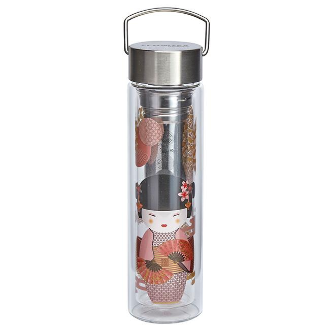 Thermos en verre double paroi avec infuseur Flowtea New Little Geisha - 40 cl