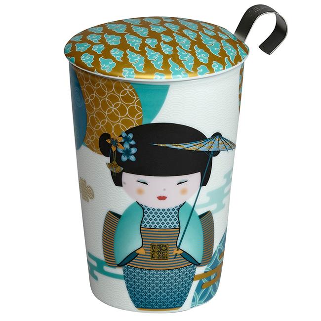 Tisanière New Little Geisha Bleu Pétrol porcelaine double paroi avec filtre - 35 cl