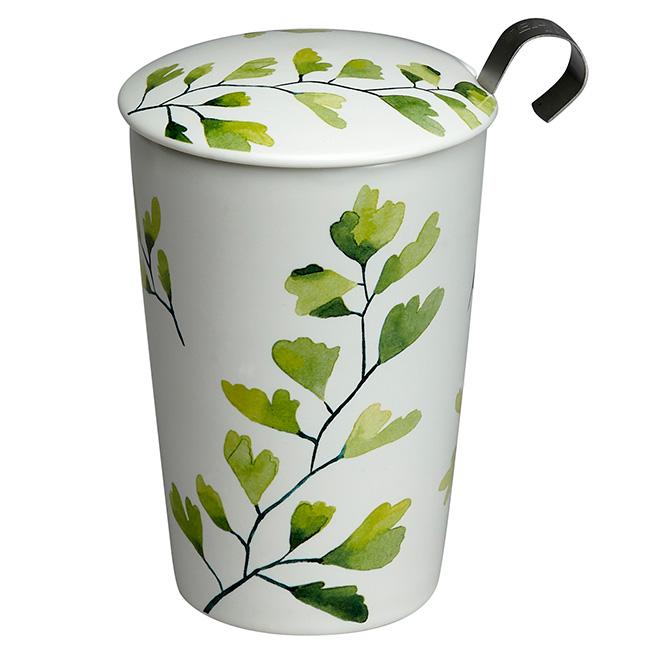 Tisanière Trees Gynkgo porcelaine double paroi avec filtre - 35 cl