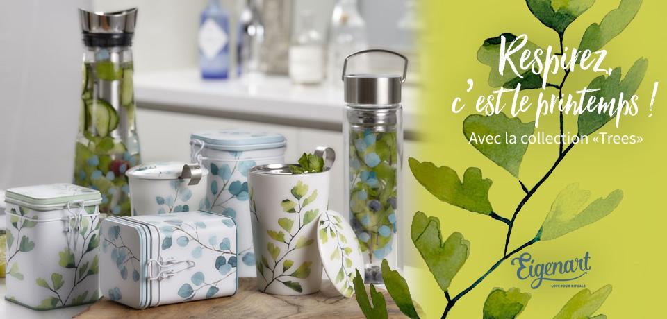 Une collection fraîche aux couleurs printanières proposant un ensemble assorti avec deux motifs au choix de tisanières, boîtes et thermos pour conserver et boire votre thé.