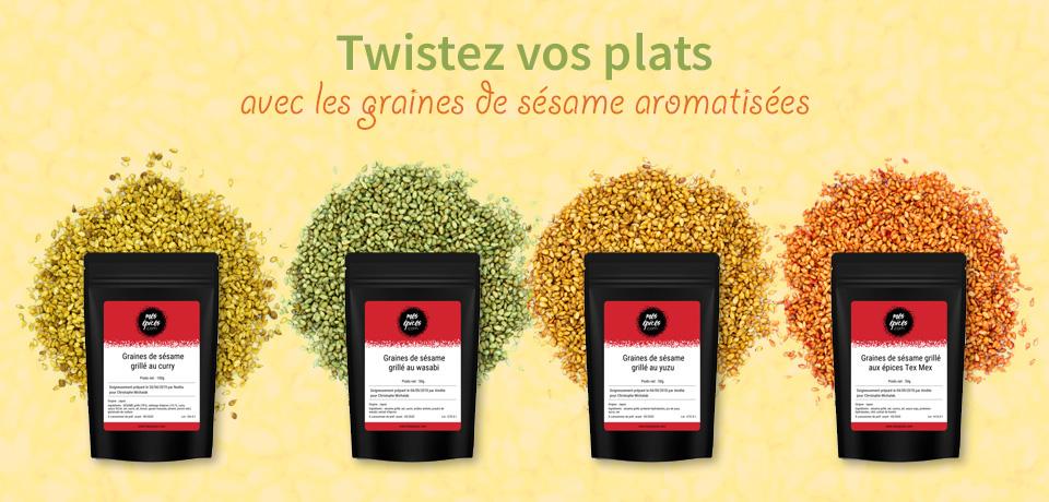 Les graines de sésame grillées aromatisées apporteront un petit plus non négligeable à vos salades, tartines salées, toast ou poissons !