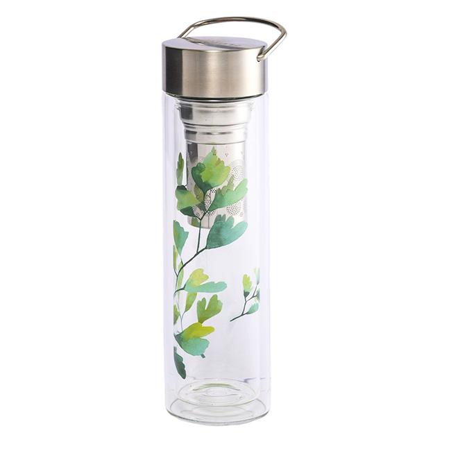 Thermos en verre double paroi avec infuseur Flowtea Trees Gingko - 40 cl