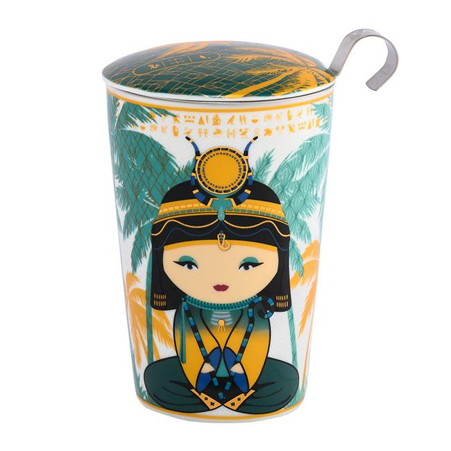 Tisanière Little Egypt Petrol porcelaine double paroi avec filtre - 35 cl