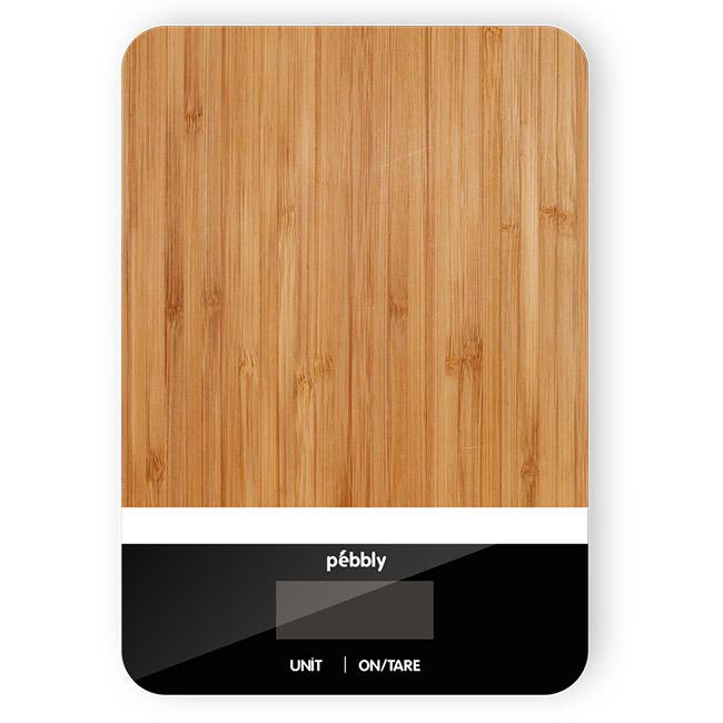 Balance rectangulaire en bambou de 5 g à 5 kg - blanc/noir