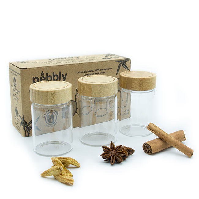 Set de 3 pots en verre borosilicate avec couvercle en bambou à visser