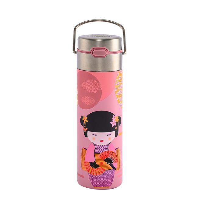 Bouteille isotherme Leeza New Little Geisha rose - acier inoxydable à double paroi avec infuseur - 50 cl