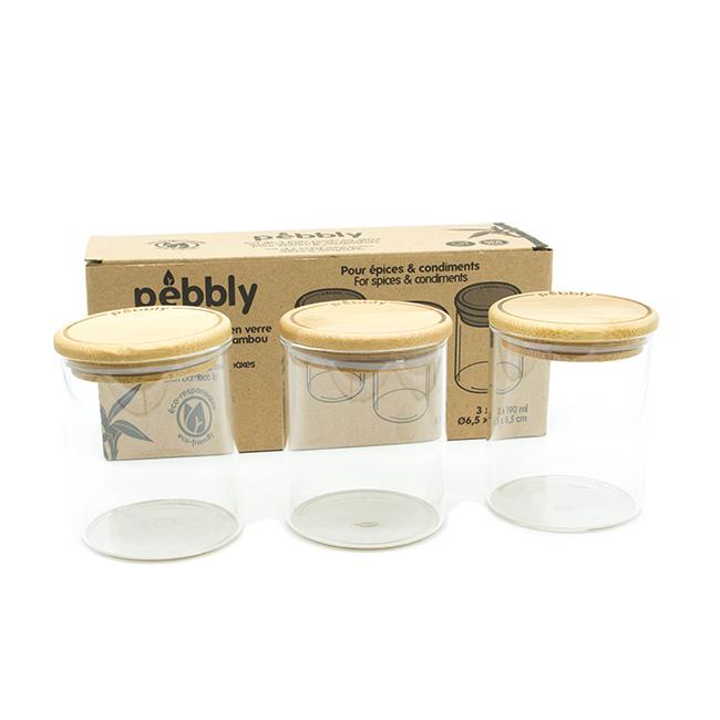 Set de 3 pots à épices en verre borosilicate avec couvercle en bambou - 190 ml