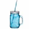Tasse vintage Mason Jar en verre bleu