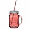 Tasse vintage Mason Jar en verre rouge